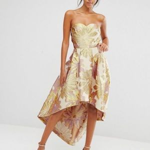 Chi Chi London Bardot Metallic Jacquard Dress